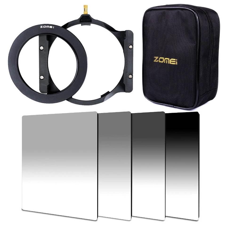 Zomei 150*100mm ND GND ND2 ND4 ND8 ND16 Densità Neutra quadrato filtro holder 16 pezzi caso anello adattatore 67mm 72mm 77mm 82mm