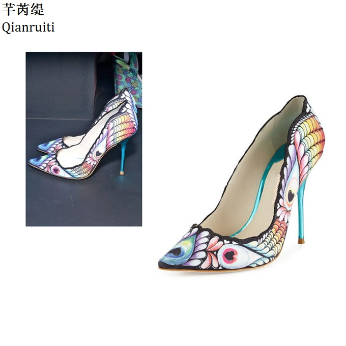 Qianruiti Printing Leather High Heels Bridal Wedding Shoes Sexy Pointed Toe Women Party Shoes Slip-On Stiletto Heels Women Pumps