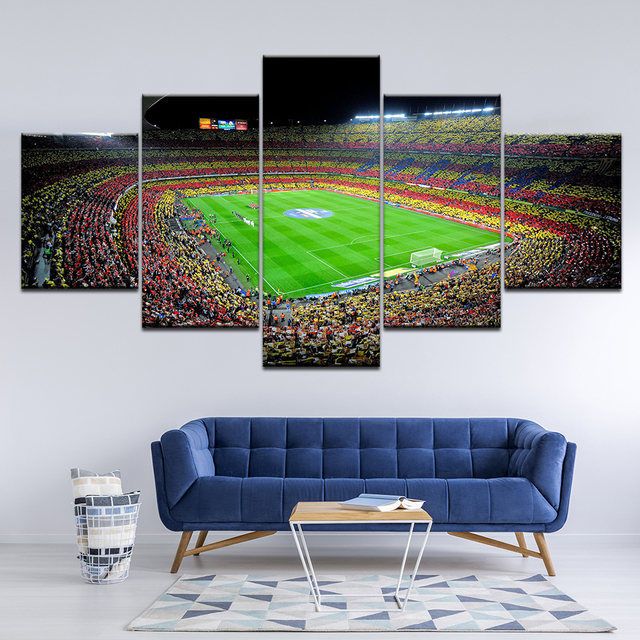 Popular Sports Football Picture Artwork Wall Poster And Prints 5 Pieces Spain Barcelona Modular Canvas Frame Painting Decor Room