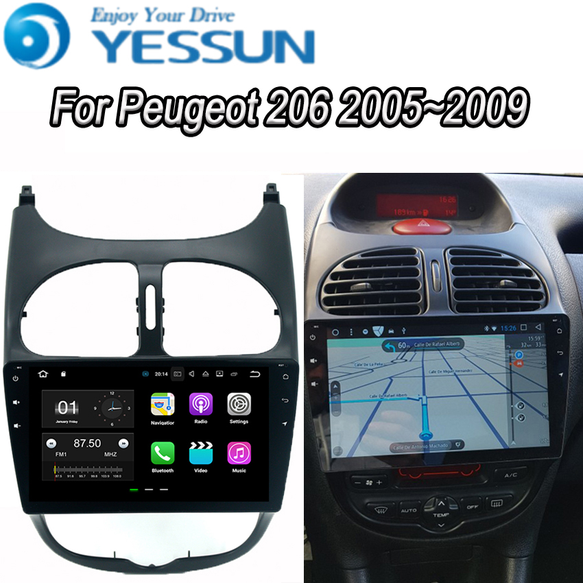 YESSUN For <font><b>Peugeot</b></font> <font><b>206</b></font> 2005~2009 <font><b>Android</b></font> Car Navigation GPS Audio Video Radio HD Touch Screen Stereo Multimedia Player. image