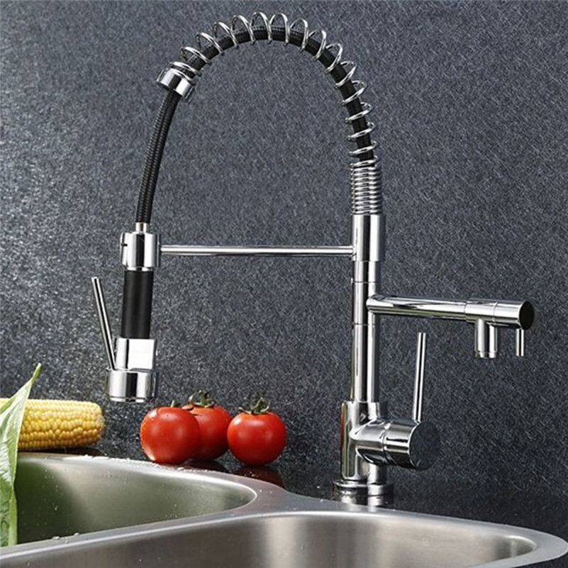 New Sale Chrome Brass Pull Out Spring Kitchen Faucet Deck Mounted Sink Mixer Tap