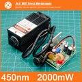 450 nm, 2000 mW 12 V Módulo Laser De Alta Potência tem TTL, Foco Ajustável módulo Laser Azul. DIY acessórios da máquina de gravura do Laser.