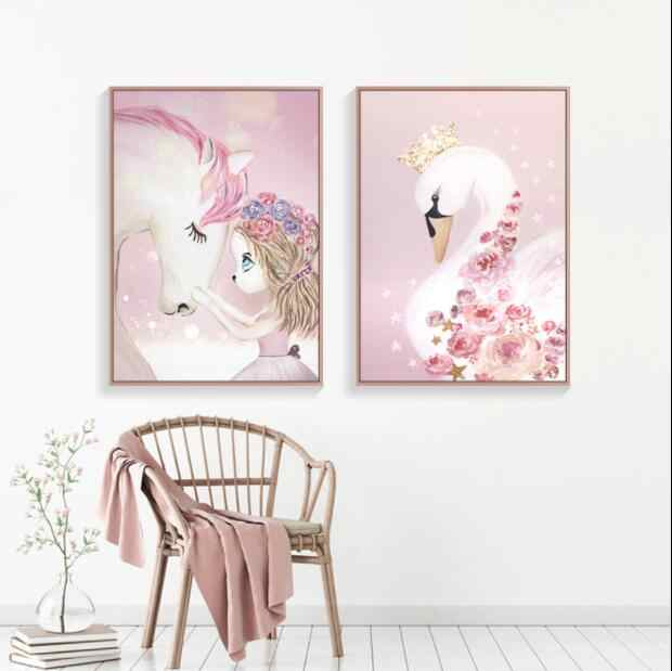 Nordic Watercolor Cartoon Unicorn Deer Rabbit Girl Canvas Painting Flower Poster Swan Wall Pictures Kids Room Home Decoration sj