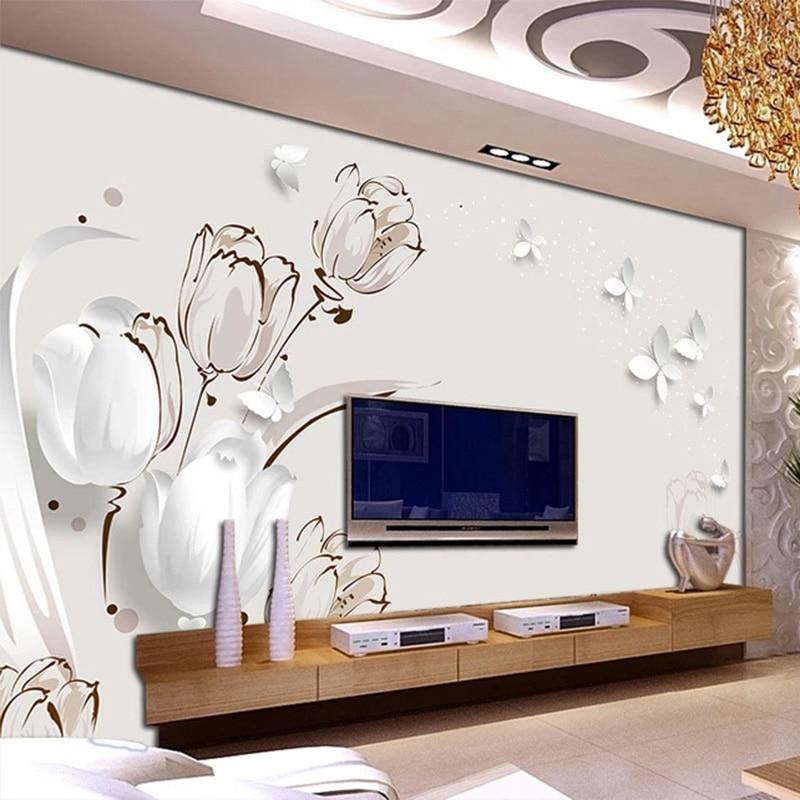 Фотообои 3D стереоскопический тюльпан, Настенная картина для гостиной, телевизора, дивана, Современный домашний декор, настенные бумаги