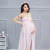 Zomer formele bruiloft roze chiffon avond chinese jurk mode voor zwangere vrouwen kleding fotoshoot rode lange jurken