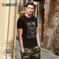 SIMWOOD 2017 Summer New T Shirts Men Casual Shorts Sleeve Letter 100 Pure Cotton Slim Fit