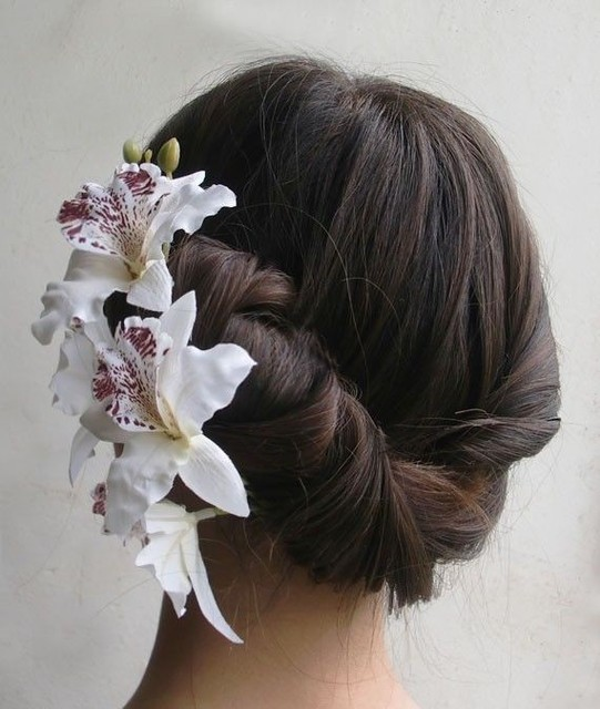 1 Piece Fashion Women White Color Bridal Silk Hair Flower Big Orchid