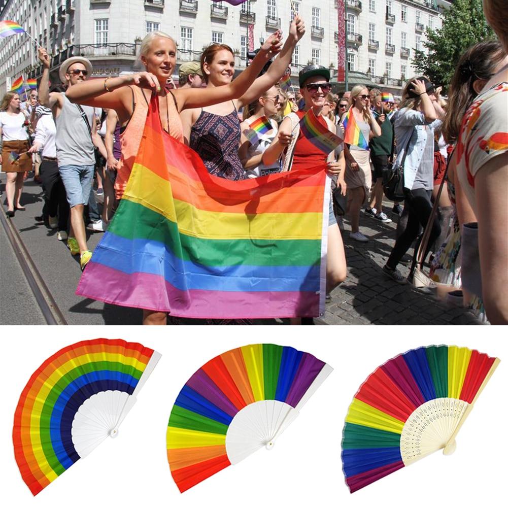 1pc Colorful Rainbow Hand Fan Plastic Bamboo Bones Dacron Fan Hand Held Folding Fan Home Decoration Party LGBT Gays Supplies B4