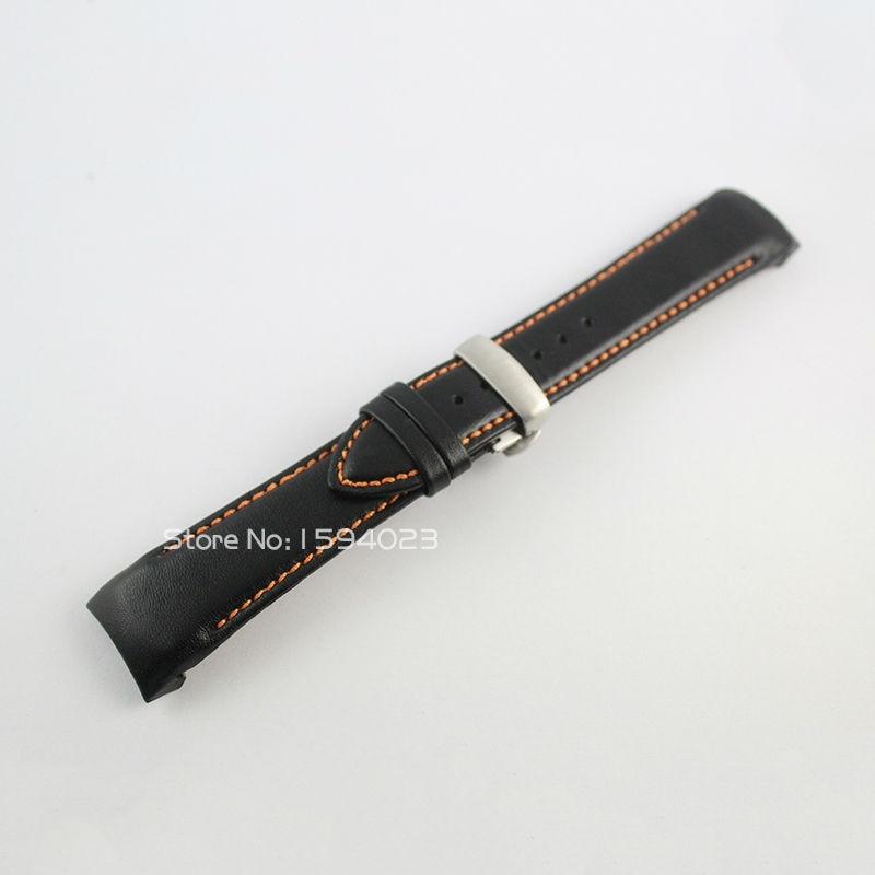 23mm (Πόρπη 20mm) T035617 / T035439A Ασημένια πεταλούδα αγκράφα πορτοκαλί ραμμένη μαύρο λείο γνήσιο δερμάτινο λουράκι Watchband για T035