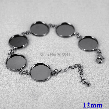 Blank Bracelet Settings Bases with 12mm Inner Round Bezel trays Cabochon Bangle Bracelet Findings Gunmetal Black Plated Brass