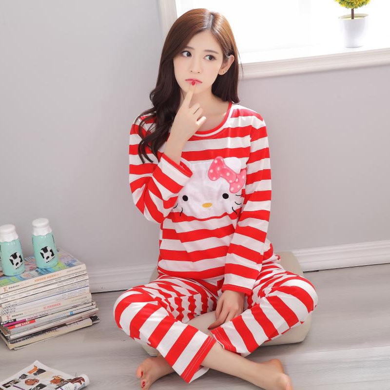76c0bba7c Hot Sale Autumn 100% Cotton 4 Colars New Hello Kitty Pajamas Sleepwear For  Women Ladies Home Clothing-in Pajama Sets from Underwear & Sleepwears on ...
