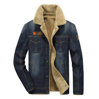 2017 New Denim Jackets Men Brand Fashion Winter Bomber Jacket Retro Warm Fur Collar Thick Parka