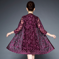 Spring Summer Middle Aged Women O-neck 3/4 Sleeve Party Dresses Vintage 2 Pieces Lace Dresses For Women Vestido Plus Size