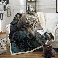 Indian Wolf Printed Cotton Blanket Throw Blanket Animal Bedspread Paisley Leaves Flower Velvet Plush Bed Blanket 150X200cm