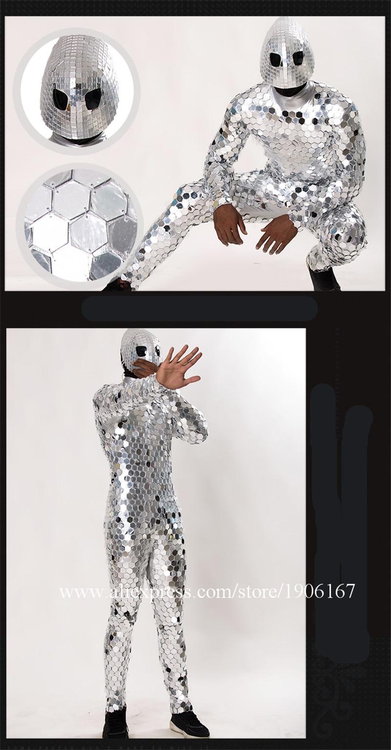 New unique futuristic alien male costume nightclub male GOGO cool mirror man costume commercial men\'s clothing5