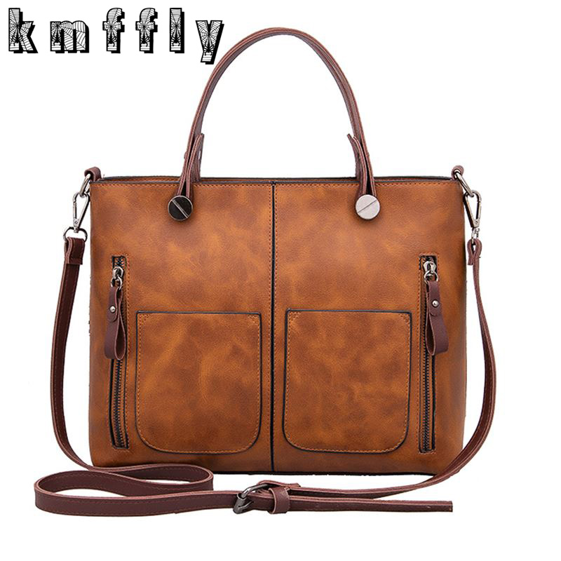 KMFFLY Women's Bags Handbags Women Famous Brands Casual Shoulder Bags PU Leather Female Big Tote Bag Ladies Hand Bags Sac MQ-1 fashion patchwork trapeze bags handbags women famous brands women crossbody bag smile face ladies hand bags new big capacity sac