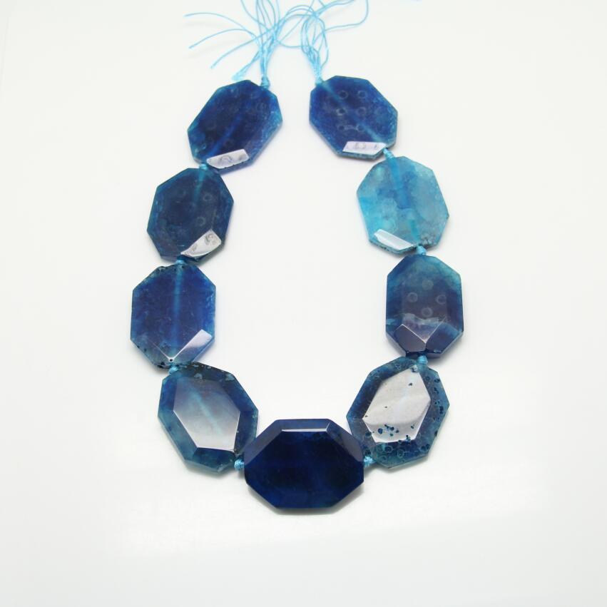 Facated гексагональной Форма синий купля Бусины, полированный натуральный темно-синий плиты ломтик свободные кулон Цепочки и ожерелья, Для муж...