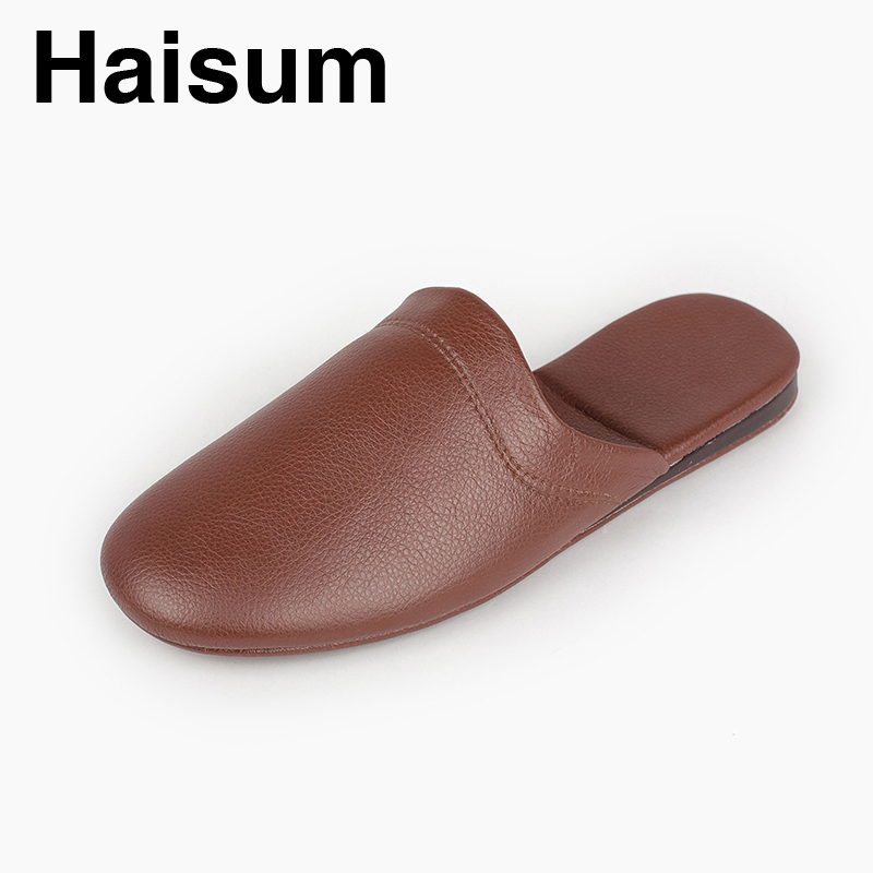 Men's Slippers Spring And Autumn Pu Leather Home Indoor Non - Slip Thermal Slippers 2018 New Hot Haisum N-198 men s slippers winter pu leather home indoor non slip thermal slippers 2018 new hot haisum h 8007