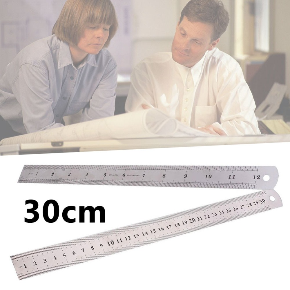 20-30cm Stainless Steel Straight Ruler Metal Double Sided Compact High Precision Straight Rulers Measuring Tool Learning Stationery