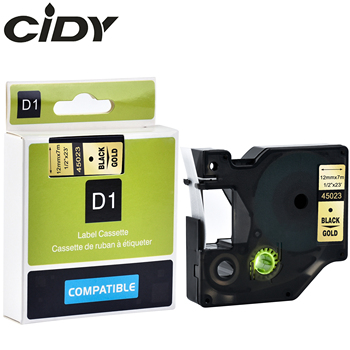 CIDY 50 pcs 12mm Black on Gold 45023 DYMO D1 label tape cassette for Labelmanager printers for DYMO LM160 LM280 PNP