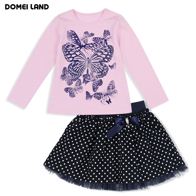 2016 Fashion winter baby brand DOMEI LAND clothing Outfits Sets Kids Girl Long Sleeve print bow Shirts Polka Dot skirts clothes
