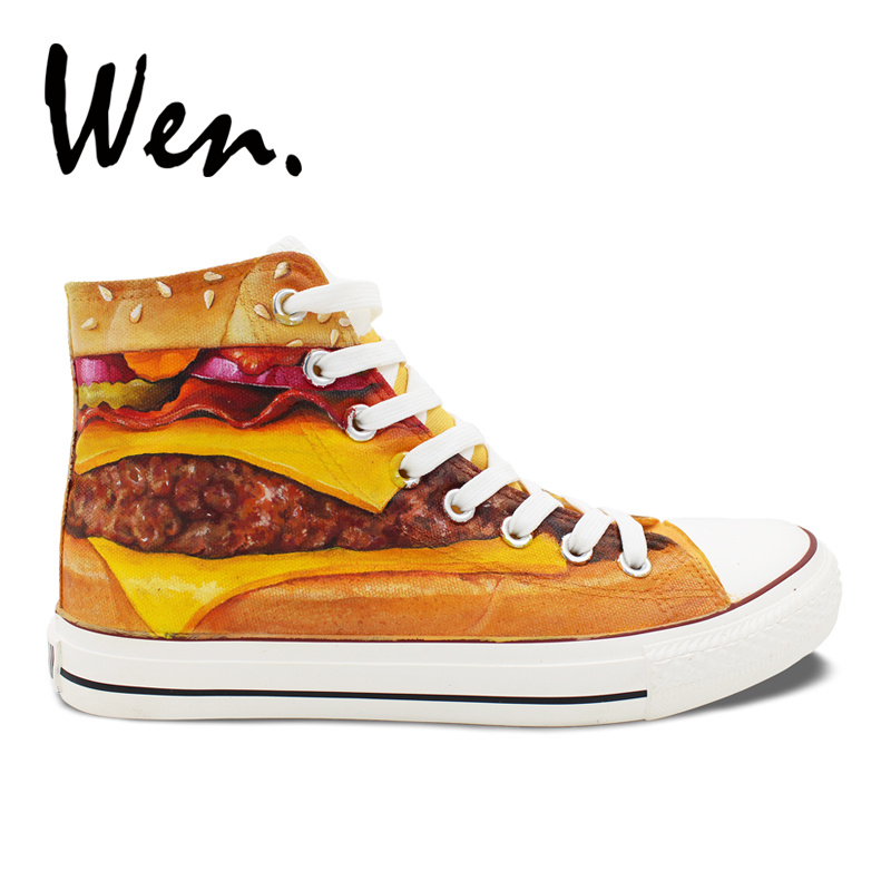 Wen Hand Painted Canvas Shoes Design Custom Delicious Hamburger Patty High Top Women Mens Skateboarding Shoes Outdoor Sneakers Wen Hand Painted Canvas Shoes Design Custom Delicious Hamburger Patty High Top Women Mens Skateboarding Shoes Outdoor Sneakers