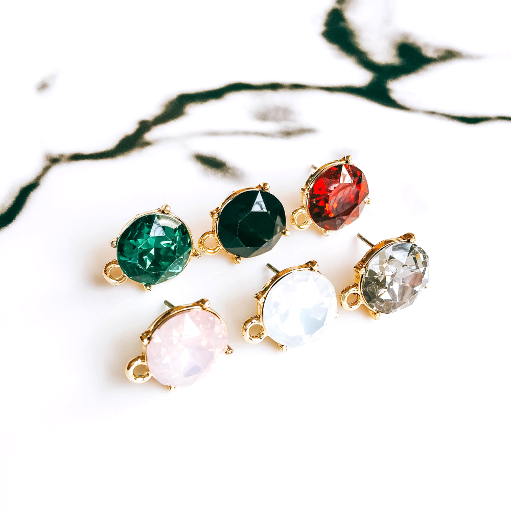 ZEROUP Rhinestone Crystal KC Gold Plated Stud Earrings 6 Colors Ear Accessories Jewelry Component Diy Material Handmade 6pcs