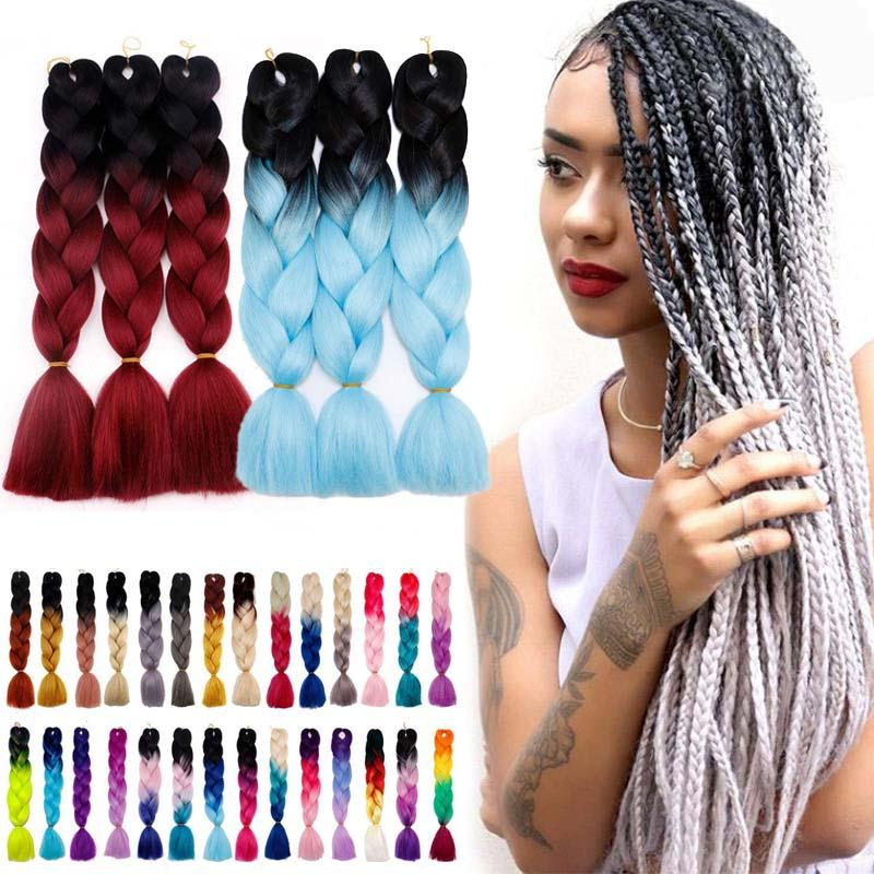msmask 24inch Synthetic Braids High Temperature Fiber Straight For Female Colorful