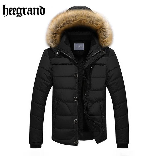 Hee grand homem inverno casacos de algodão gola de pele de guaxinim com capuz ocasional Tamanho Grande Casaco Masculino Além de Veludo Engrossar Casaco Quente MWM1470