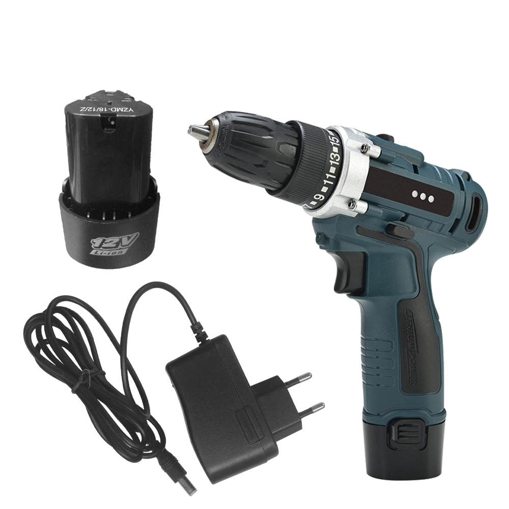 12V / 16.8V / 21V Power Tool with Lithium Battery Variable Speed Electric Screwdriver with LED Light Cordless Drill Power tools