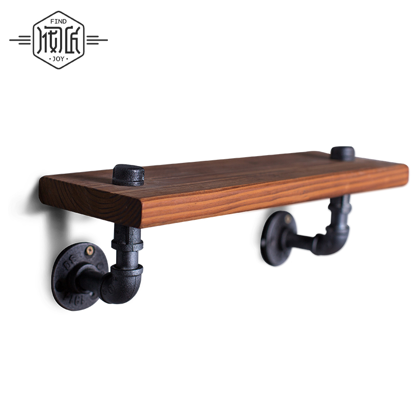 40*15cm One Pcs American old Industrial Pipe Racks, Wrought Iron Shelves Solid Wood Clapboard Bathroom Wall Shelves s-Z19
