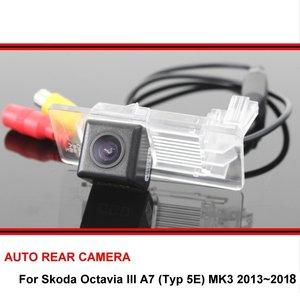 Câmera de reversão para skoda octavia iii, câmera hd ccd com visão noturna traseira, 2013x2018, 5e mk3 câmera trasera para estacionamento automotivo