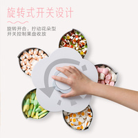 Rotating grid dried fruit plate household snack plate living room plastic candy dish with lid melon seeds dried fruit box