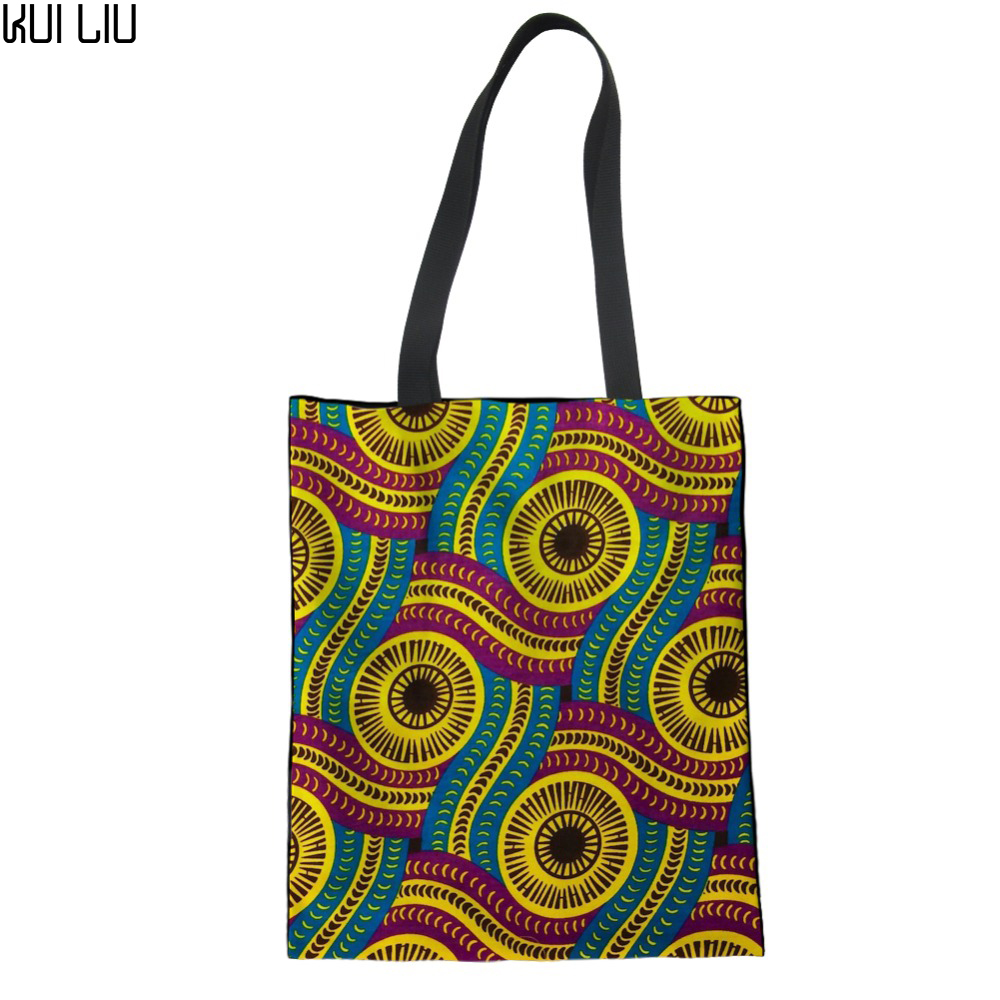 African Traditional Printed Reusable Canvas Shopping Bags Women Ladies Big Grocery Tote Bag Canvas Folding Eco Handbag