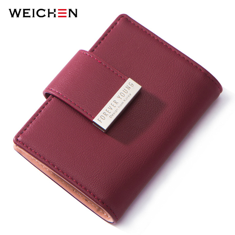 20 Slots Women Card Holders Synthetic Leather Ladies Small ID Credit ...