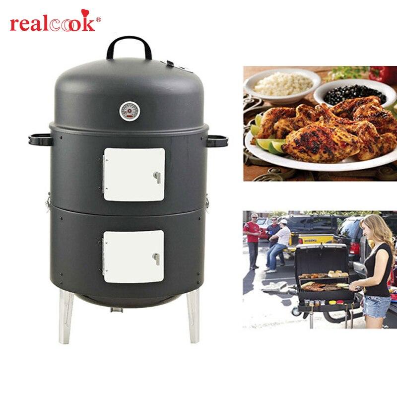Nieuw! 17 inch Eenvoudige Montage BBQ grill Security Barbecue Dampen Oven Staal Roker Barbecue Grilll met ingebouwde Thermometer-in BBQ Roosters van Huis & Tuin op  Groep 1