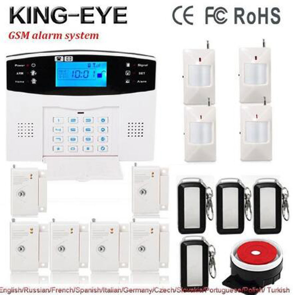Russian/French/Spanish voice prompt 433 Mhz wireless alarm systems security home kit PIR motion infrared detector door sensor russian french spanish polish voice prompt gsm alarm system for home security anti theft pir detector wireless siren app control