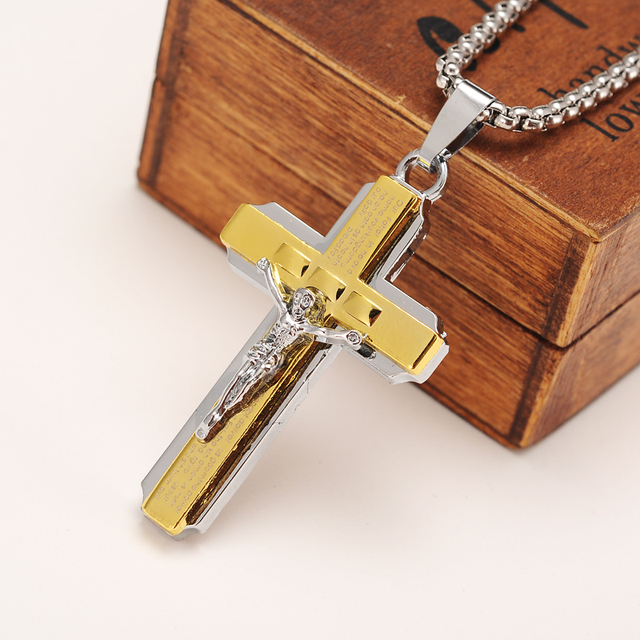 Two tone silver gold color jewelry antique cross crucifix jesus two tone silver gold color jewelry antique cross crucifix jesus cross pendant necklaces men boys jewelry aloadofball Image collections