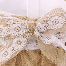 Vintage arpillera yute rústico boda flor niña cesta adorno macetas de flores W. Encaje Bowknot Decoración