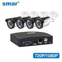 Smar 4CH CCTV NVR System 4PCS 720P/1080P Outdoor IP Camera Kit Home Security CCTV System HDMI P2P Support Esata+USB+TF Storage