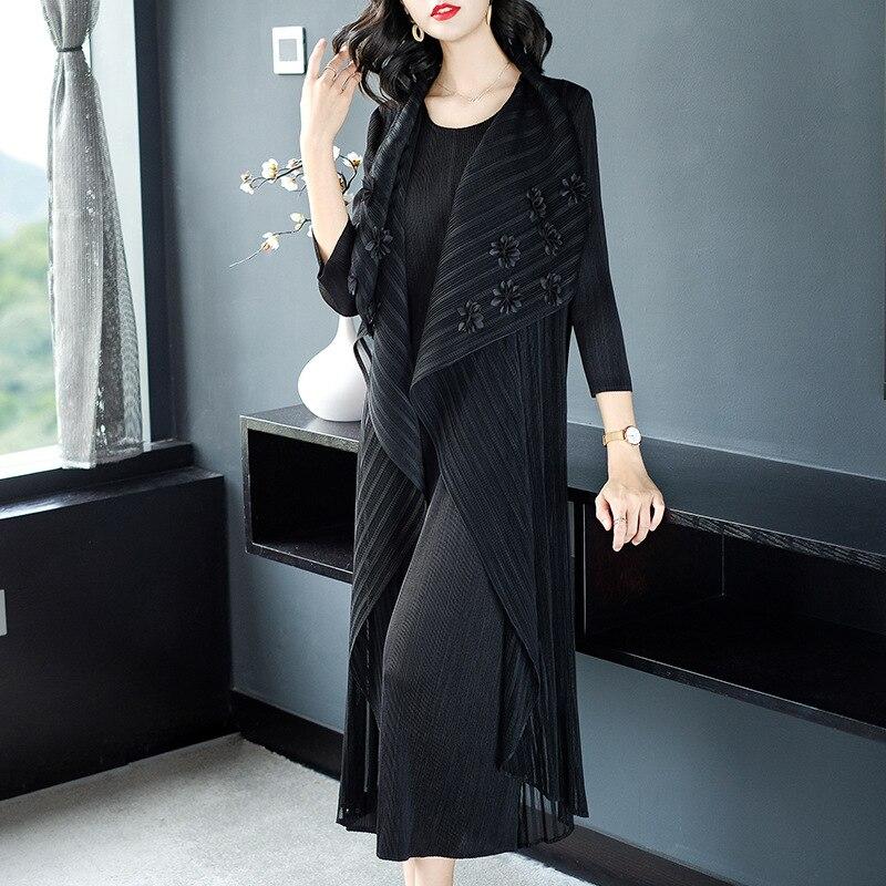 Plis Black Plus Pièce Pour 75 khaki Miyake Automne Blue burgundy Femmes Style Mode 45 Taille Nouveau La Chinois navy Poids Faux Robes Deux Robe Kg RUqrxOPRw