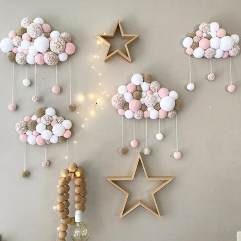 Ins Hot Nodic Tent Baby Kids Macaron Colored Ball  Cloud Decoration In The Crib Tent Room Decor Accessory Wall Hanging Tent