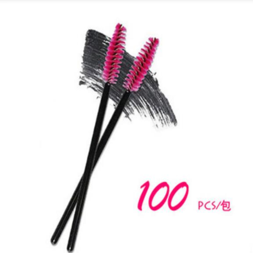 New 100pcs/lot make up brush Pink synthetic fiber One-Off Disposable Eyelash Brush Mascara Applicator Wand Brush best deal bo