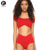 The Word Collar Spilt Women S Swimming Suit Chest Cross Bikini Solid Color Wire Free With