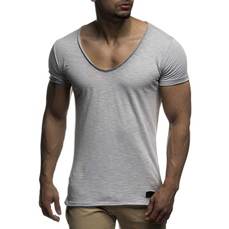 Nova chegada profunda V pescoço camisa dos homens t slim fit t-shirt dos homens de manga curta fino top tee casual tshirt verão camisetas hombre MY070