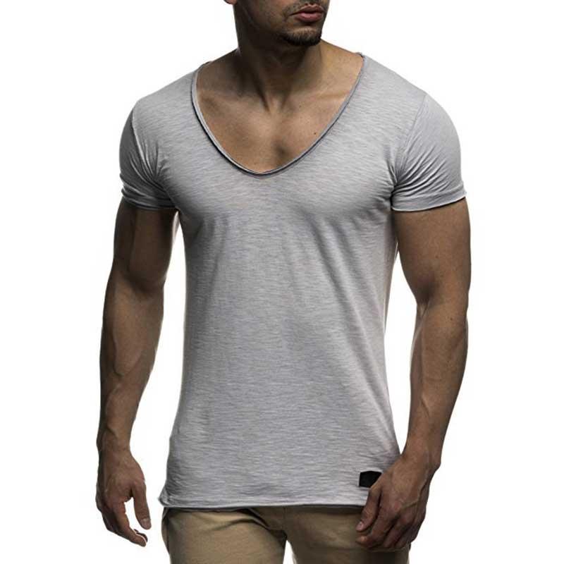 Nueva llegada Camiseta de manga corta con cuello en V profundo para hombre Camiseta ajustada para hombre Camiseta fina superior camiseta casual de verano camisetas hombre MY070