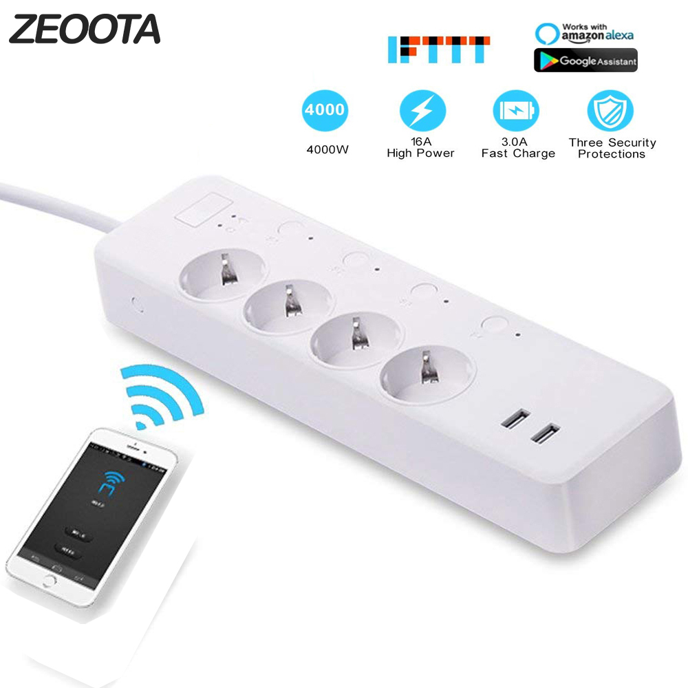 WiFi Smart Power Strip Intelligent Plug Wireless Timer Remote Control by Smartphone for Android iOS Google