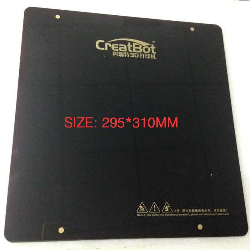Pièces originales de CreatBot pour la plaque fonctionnante matérielle en verre de lit de chauffage d'imprimante 3D 295mm * 310mm