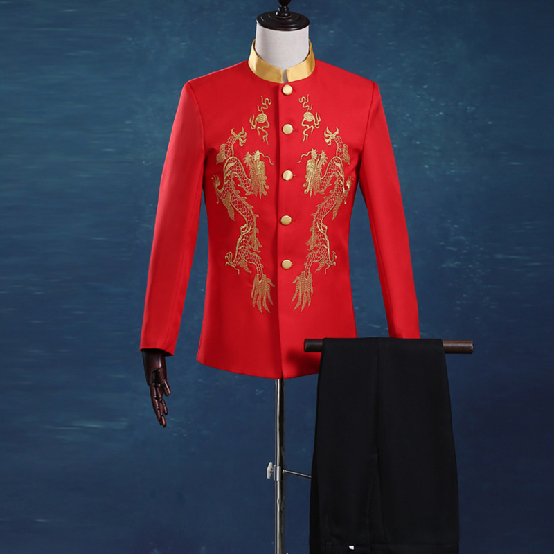 Red Tunic  Stand Collar Suits Male Embroidery Dragon Totem Suit Chinese Wedding Groom Tuxedos Ancient Costume Suit(Jacket+Pants)