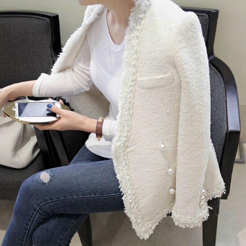 Брендовые женские зима жемчуг Ленточки шерстяная куртка пальто Для женщин Винтаж casaco Femme теплый твидовый пиджак элегантные пальто
